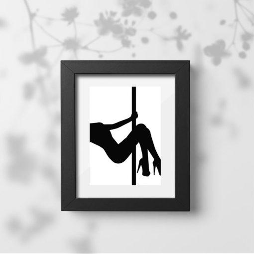 Biało-czarny plakat - Pole dance