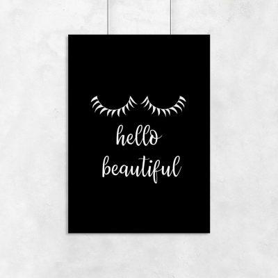 Plakat z napisem - Hello beautiful do salonu