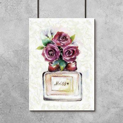 Plakat z perfumami i kwiatami