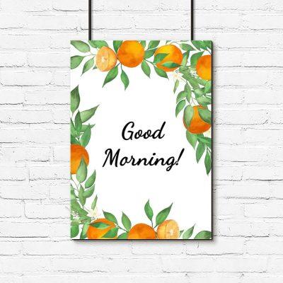 Plakat z typografią do salonu - Good morning