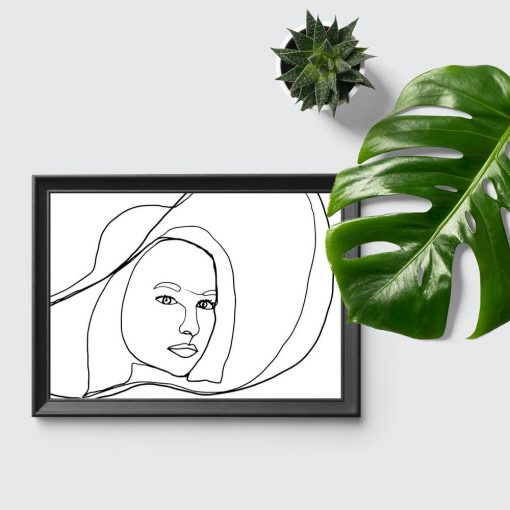 Plakat z kobietą w kapeluszu do salonu