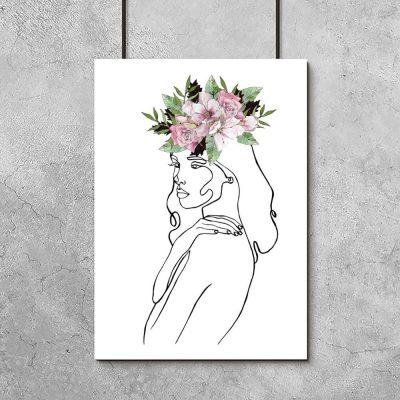 Plakat z kobietą z winkiem do salonu