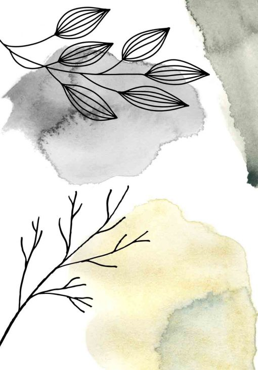 Plakat z abstrakcją na tle gałązek
