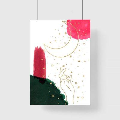 Plakat z dłonią i księżycem do pokoju