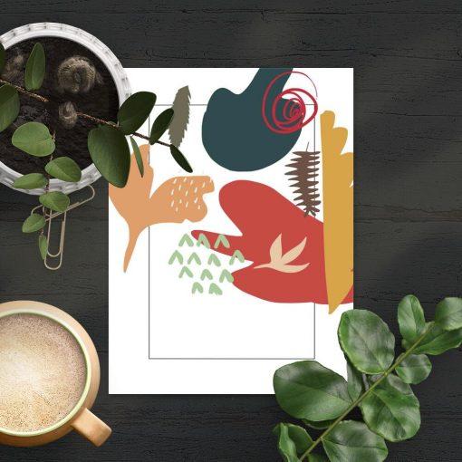 Plakat z motywem kolorowej abstrakcji do biura