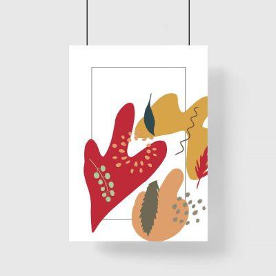 Plakat z motywem liści oraz abstrakcji