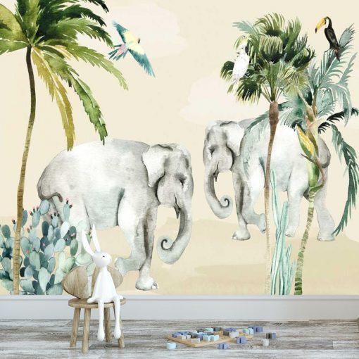 zielone palmy i papugi - fototapeta dziecięca