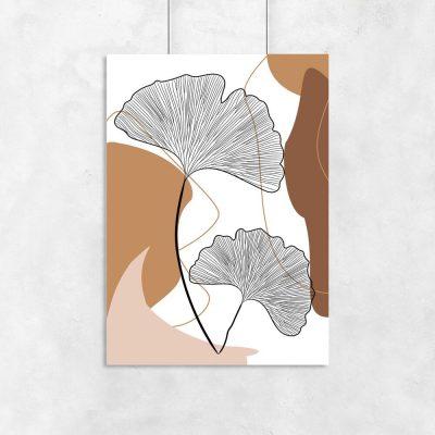 Plakat z liśćmi w formie wachlarzy