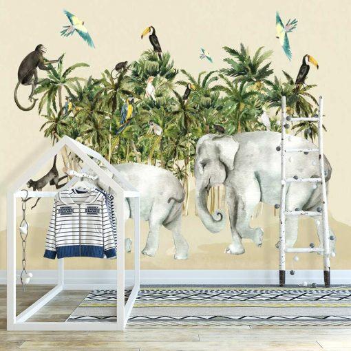 pokój chłopca dekorowany fototapetą z kolorową dżunglą