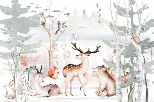 pokój chłopca dekorowany fototapetą z lasem
