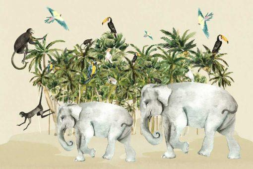 tropikalny las i małpki na kolorowej dziecięcej fototapecie