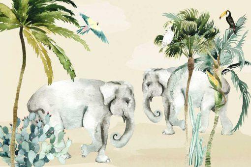 wesołe słonie- kolorowa foto-tapeta do pokoju dziecka