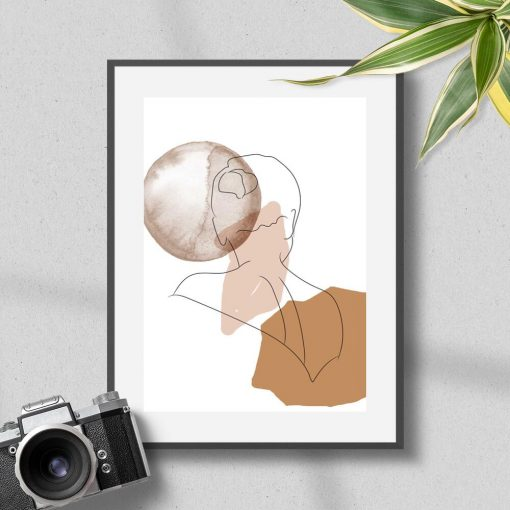 Plakat ludzka postać na tle abstrakcji