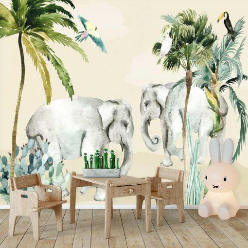 egzotyczny sukulent i słonie - fototapeta do pokoju małego dziecka