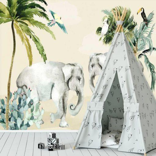 Barwna dekoracja do pokoju dziecka- fototapeta ze słoniem
