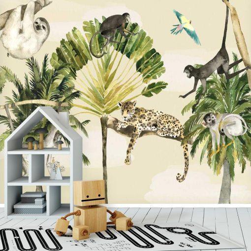 foto-tapeta dziecięca - zielone palmy