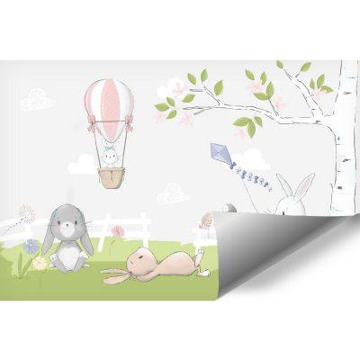 Wiosenne drzewko na dziecięcej fototapecie z królikami