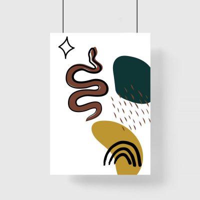 Plakat z wężem i plamami
