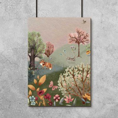 Barwny plakat dla dziewczynki - Zajączek