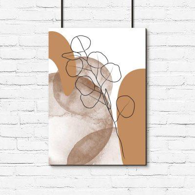 plakat ze szkicem listków na brązowym tle
