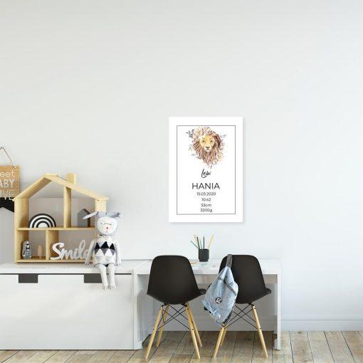 Plakat z metryczką i znakiem zodiaku do pokoju dziecka