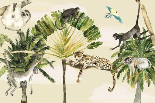dzikie zwierzęta na kolorowej fototapecie dla dzieci