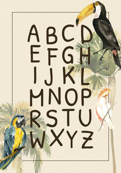 Egzotyczne paugi na plakacie dla dzieci