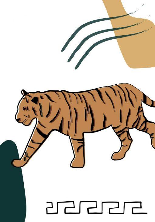 Plakat z tygrysem i wzorkiem