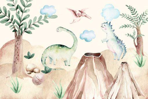 Dinozaury - Kolorowa fototapeta dla przedszkolaka