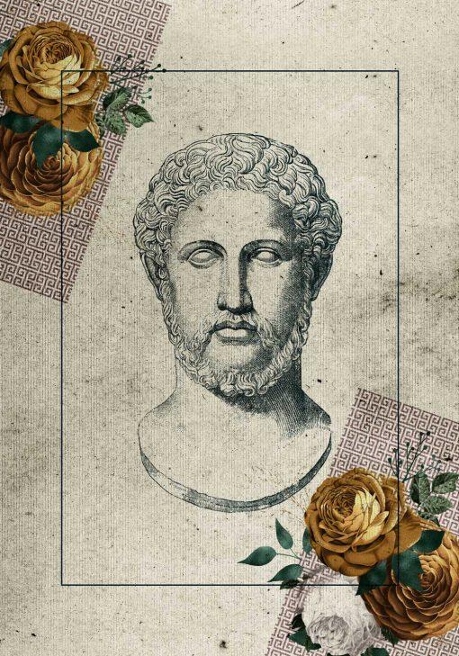 Plakat z głową Greka do dekoracji gabinetu