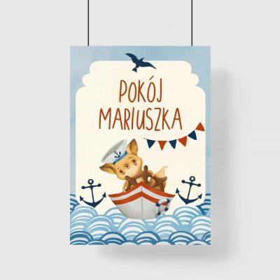 Imienny plakat dziecięcy z liskiem