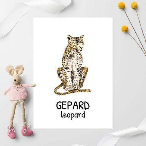 beżowy gepard w cętki - plakat do pokoju dziecka