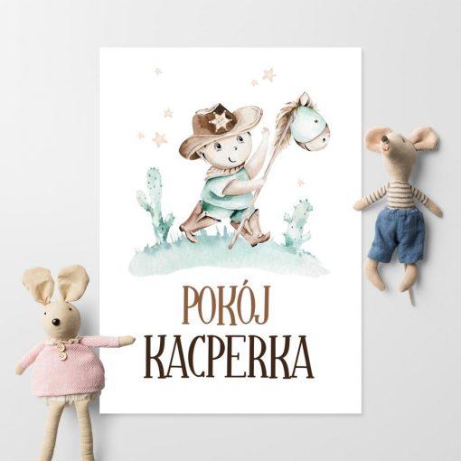 Miętowy plakat imienny do pokoju dziecięcego