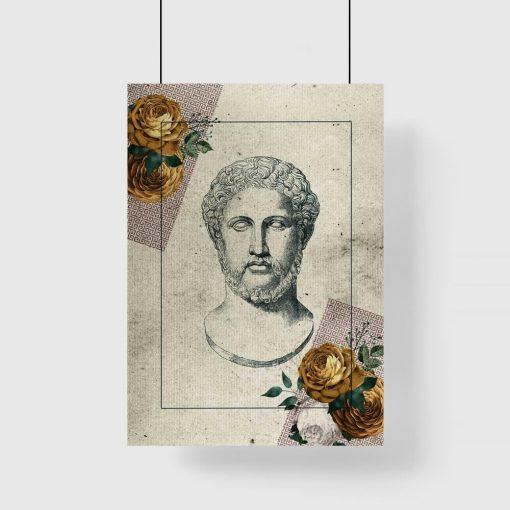 Plakat z popiersiem mężczyzny i kwiatami