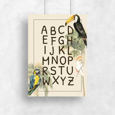 kolorowy plakat z alfabetem dla dzieci