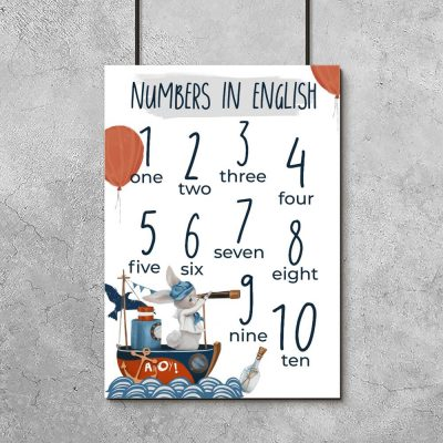 Numbers in english - Plakat dla dzieci