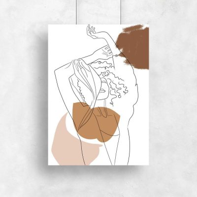Kobieta z rękami w górze - Plakat line art do salonu