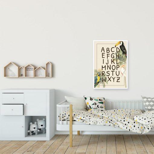 Dziecięcy plakat z ptakami z dalekich krain