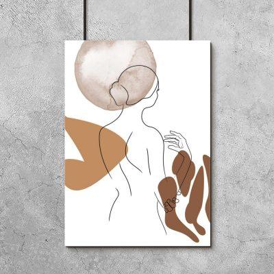 brązowy plakat line art - naga kobieta