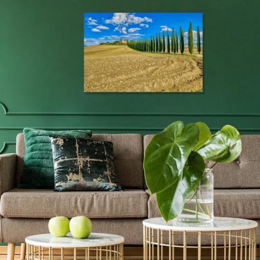 Obraz pejzaż Toskanii z aleją cyprysów