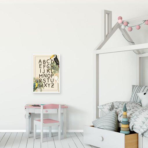 bajkowa dekoracja w formie plakatu z abecadłem do pokoju dziecka