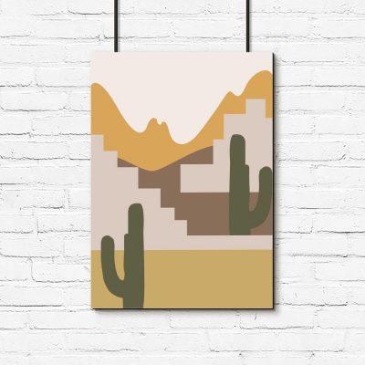 Plakat kaktusy i góry