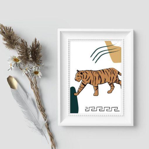 Plakat bez ramy z tygrysem