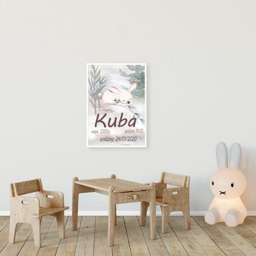 Plakat dla dziecka - Metryczka z królikiem