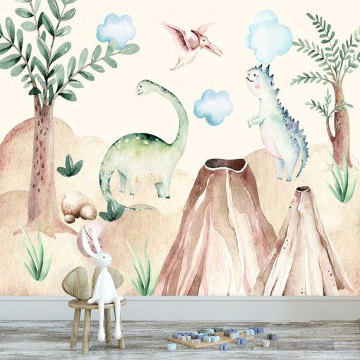 Dinozaury - Kolorowa fototapeta dla dzieci