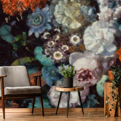Foto-tapeta z motywem jesiennych kwiatów do kobiecego pokoju