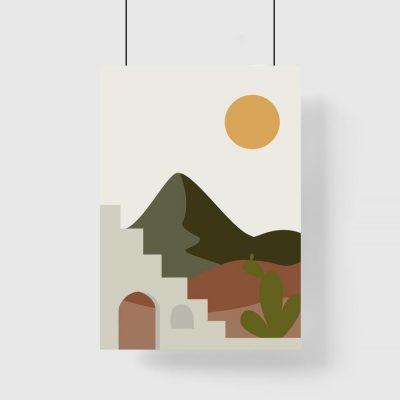 Plakat z krajobrazem w promieniach słońca