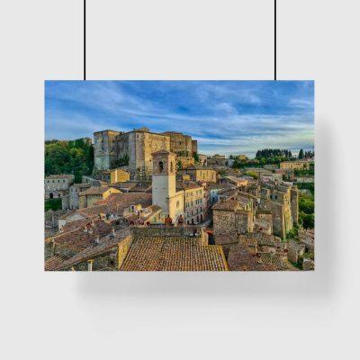 Plakat z panoramą miasteczka