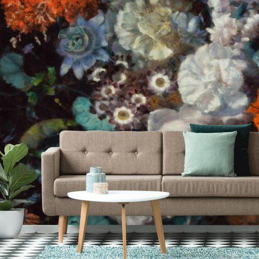 Foto-tapeta z motywem jesiennych kwiatów salonu
