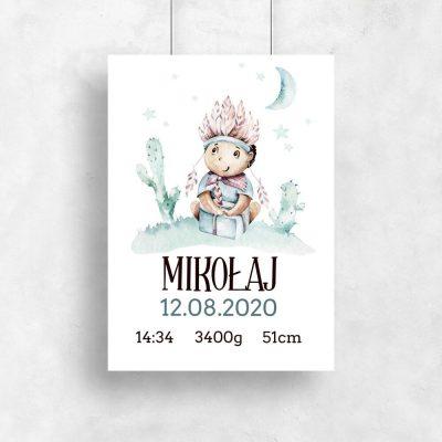 Plakat - Metryczka dla chłopca z gwiazdkami